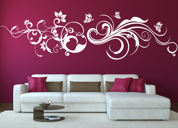 wandtattoo floral ornament schmetterlinge blumen wandaufkleber wallart wa 091b ebay. Black Bedroom Furniture Sets. Home Design Ideas